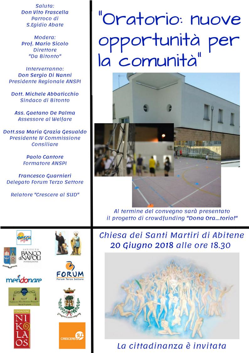 Oratorio: nuove opportunità per la comunità